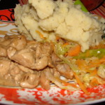 Coconut Chicken with Mashed Potatoes