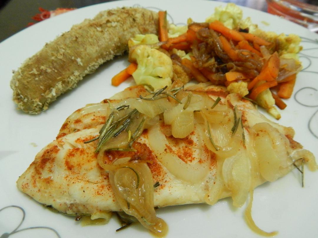 Paprika and Rosemary Onion Baked Tilapia