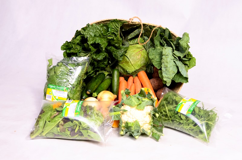 sample of a basket with organic produce