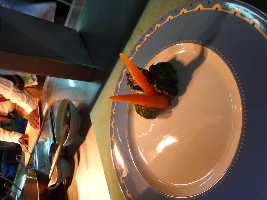 creamed spinach, broccoli and baby carrots