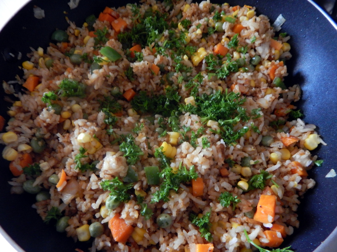sweet corn and pea fried rice