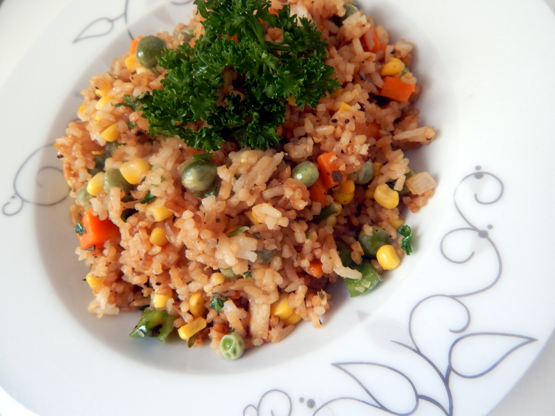 sweetcorn and pea fried rice 14