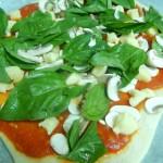 Mushroom, Basil and Mozzarella Pizza