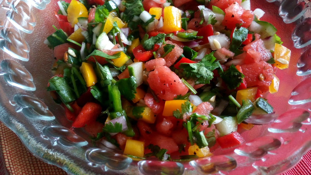rainbow watermelon salsa